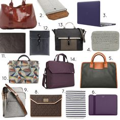 Classy laptop bags (designsponge). I like the colors of #10, though not for a laptop bag.
