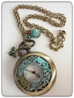 Antique Brass Patina Watch Pendant Necklace | jnldesigns - Jewelry on ArtFire