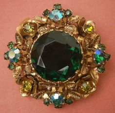 R703) ANTIQUE VINTAGE ART DECO FILIGREE CZECH AURORA BOREALIS GLASS BROOCH in Uhren & Schmuck, Modeschmuck, Broschen & Anstecknadeln | eBay