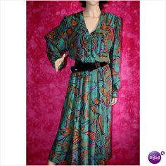 Vintage 1970 Designer Tie Scarf Dress Size 14 Mandy Marsh