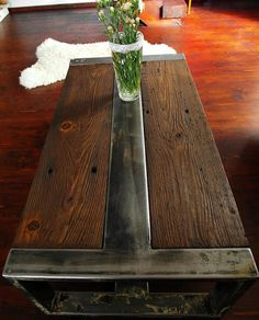 Handmade Reclaimed Wood & Steel Coffee Table by DesignInFocus