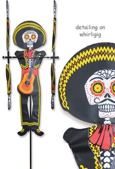 """Day of Dead Man Whirligig New Spinner. Overall size is approximately 16.25"""" W x 33.5"""" H with 33.5"""" spinning arms. Comes with a 7"""" ground stake.  **Free Priority Mail shipping to anywhere in the USA.**"""