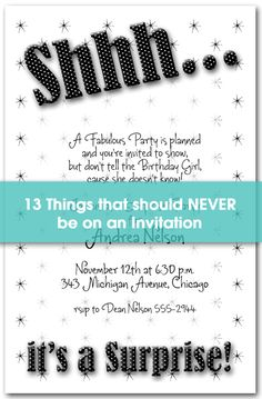Whoops... 13 things that should NEVER be on an Invitation.