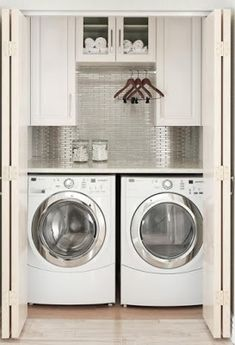 Ideas to Steal from 10 Stylish and Functional Small Laundry Rooms Small Laundry Room Inspiration and Ideas Tiny Laundry Rooms, Mudroom Laundry Room, Laundry Room Layouts, Laundry Room Remodel, Laundry Room Cabinets, Laundry Room Bathroom, Farmhouse Laundry Room, Laundry Room Small Ideas, Laundry In Closet