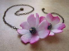 Pink Dogwood Watercolor Handmade Eco Felt Necklace | akaCINDERS - Jewelry on ArtFire