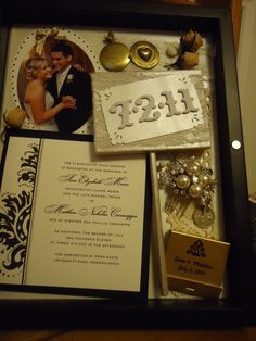 wedding shadow box...I like the hair pin in the shadow box. I still need to make ours from our wedding!