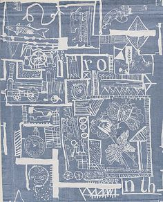 Portobello Market -This printed curtain fabric was based on a series of pen and ink drawings of junk and antiques Paolozzi found in the Portobello Road flea market, long before it became fashionable Lucienne Day, Frank Lloyd Wright, Edinburgh, Eduardo Paolozzi, James Rosenquist, A Level Art Sketchbook, Engraving Printing, Art Themes, Japanese Prints
