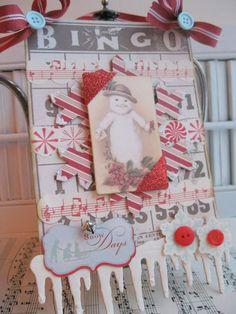 vintage style christmas snowman bingo card sign decoration