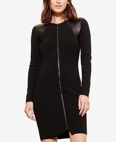 Lauren Ralph Lauren Petite Zip-Front Faux-Leather Panel Dress - Lauren Ralph Lauren - Women - Macy's