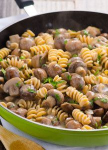 Healthy Mushroom Stroganoff Recipe made creamy with Greek yogurt and brown rice pasta for a healthier classic comfort food experience. | ifoodreal.com