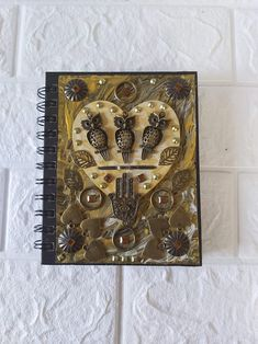 Unique Steampunk Wire Notebook Scrapbook Diary Journal   Etsy Hamsa Art, Steampunk, Good Luck Symbols, Decorate Notebook, Cat Wall, Black Acrylics, Scrapbook, Cat Lover Gifts, Friends In Love