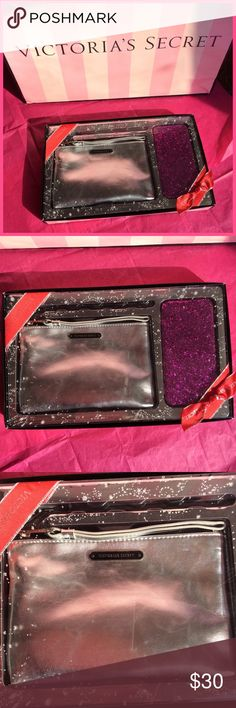 Victoria's Secret Wristlet & Phone Case NEW  VS wristlet and phone case set. You will receive a silver wristlet and a pink sparkly hard shell case for the IPhone 6/6S. Everything is brand new in packaging. Shipping may take 2-3 business days, if this doesn't work for you please don't purchase. Thank you! Victoria's Secret Accessories Phone Cases