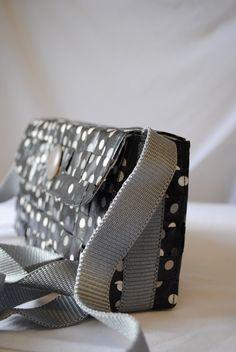 Grey and Black Polka Dot Satchel Bag by WeaveandStitch on Etsy, £16.00
