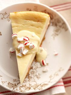 White Chocolate and Candy Cane Cheesecake White Chocolate and Candy Cane Cheesecake - Mascarpone cheese is even richer than cream cheese, making this lavish cheesecake super creamy. The candy canes make it the perfect holiday dessert. - bhg.com