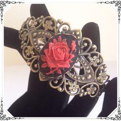 "Vintage Look Rose Cameo Bracelet Elaborate mixed metal bracelet is bronze tone. It is 7"" and adjustable. Steampunk Grandma Jewelry Bracelets"