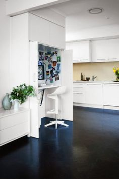 This clever workstation means you can keep an eye on the homework progress. Simply close the doors to hide away the. Kitchen Office Nook, Cozy Office, Home Office Space, Home Office Design, Bedroom Nook, Bedroom Corner, Desk Nook, Space Saving Desk, Office Bookshelves