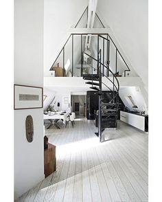 via @homeadore: Loft in Paris #paris #loft #apartment #livingroom #interior #interiors #interiordesign #design #architecture