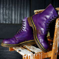 Dr MARTENS Boots PURPLE Leather Yellow Double by RenegadeRevival, $139.99