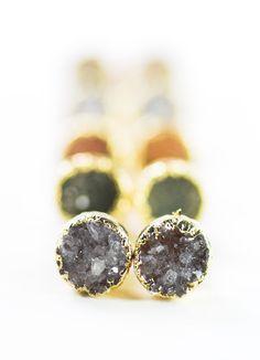 Small gold druzy stud earrings