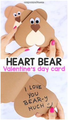 Heart Bear Craft - Valentines Day Card Idea - Easy Peasy and Fun Heart Bear Valentines Day Craft for Kids – Cute and Easy Valentines Day Card Idea Kinder Valentines, Diy Valentines Cards, Bear Valentines, Valentine Crafts For Kids, Valentine's Cards For Kids, Valentine's Day Crafts For Kids, Fall Crafts, Diy Crafts, Valentine's Day Diy