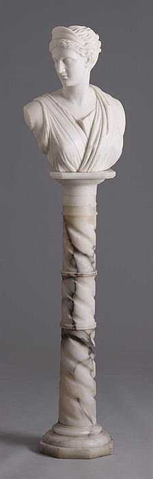 19th Cent. Carved Marble Classical Bust on Alabaster Pedestal