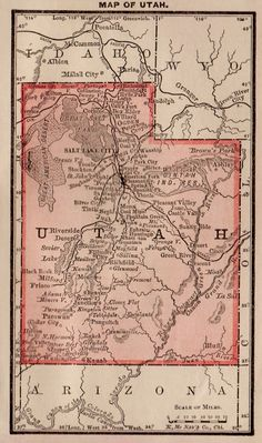 RARE Antique INDIAN TERRITORY Map 1886 RARE MINIATURE Vintage