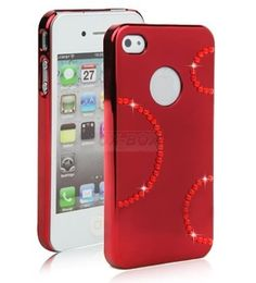 Swarovski iPhone Case 4/4S, hard shell mirror diamond (Red / ring) Christmas More