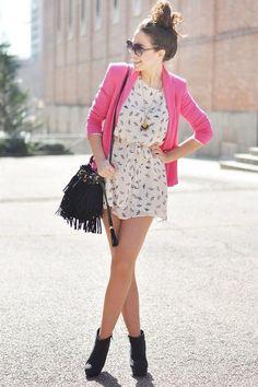 Shop this look on Kaleidoscope (dress, blazer, bag, bootie, sunglasses, necklace)  http://kalei.do/VwTKPTAmzivVGz6D