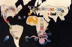 Unusual map of world by Valerio Vidali (Italian illustrator)
