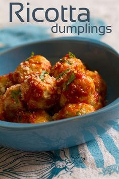 It may merely be semantics but I call these little cheesy pillows Ricotta Dumplings with Parmesan and basil. Some would prefer the term gnocchi or gnudi. Italian Recipes, New Recipes, Cooking Recipes, Healthy Recipes, Vegetarian Recipes, Italian Foods, Italian Dishes, Family Recipes, Dumpling Dough