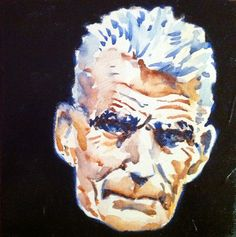 Samuel Beckett Oil & watercolor on canvas Samuel Beckett, Watercolor Canvas, Skull, Oil, Painting, Fictional Characters, Painting Art, Paintings, Fantasy Characters