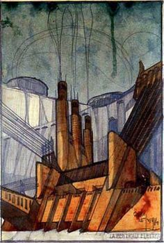 Antonio Sant'Elia Project for a Power Plant, 1914 factory Antonio Sant Elia, Movement In Architecture, Architecture Drawings, Architecture Details, Italian Futurism, Architectural Features, Architectural Sketches, Central, Cool Posters
