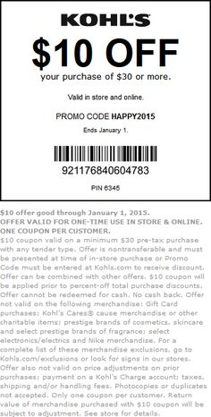 Pinned December 27th: $10 off $30 at #Kohls, or online via promo code HAPPY2015 #coupon via The #Coupons App