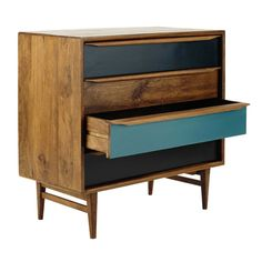 Stained mango wood vintage chest of drawers W 86cm