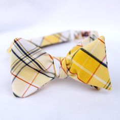 Plaid Pattern Yellow Tuxedo Bow-tie for Groom's Wedding Attire Groom Attire, Groom And Groomsmen, Types Of Ties, Navy Wedding Colors, Tuxedo Bow Tie, Tuxedo Wedding, Wedding Attire, Yellow And Brown, Plaid Pattern