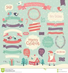 Christmas Set Ribbons Other Decorative Elements Stock Vector (Royalty Free) 218804221 Christmas Text, Christmas Sale, Merry Chistmas, Christmas Settings, Royalty Free Stock Photos, Kids Rugs, Illustration, Happy, Decor