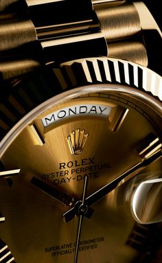 Rolex Watches New Collection : Illustration Description The arc-shaped window at 12 o'clock on the Rolex Day-Date's dial, indicating the day of the week in full, encapsulates the quintessence of this prestigious gentleman's timepiece. Luxury Watches, Rolex Watches, Watches For Men, Modern Watches, Dream Watches, Vintage Watches, Citizen Dive Watch, Atomic Watch, Watches