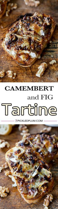 Camembert and Fig Tartine with caramelized onion. Classic French comfort food that's quick and easy to make at home! Snack, French Food   pickledplum.com