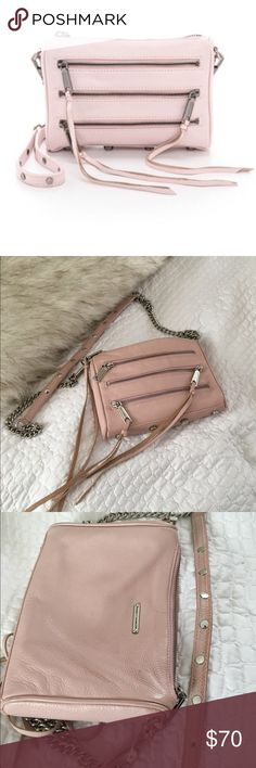 Light Pink Rebecca Minkoff 5 Zip Mini 5 zip mini by Rebecca minkoff in a light pink. Perfect for spring! No stains or rips. Strap shoes some wear as shown, and some scratches on the bottom studs. Also some wear around the bottom corners Rebecca Minkoff Bags Crossbody Bags