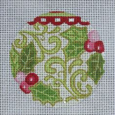 Alice Peterson needlepoint holly ornament