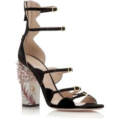 Giambattista Valli Embellished Printed Block Heel Sandal ($1,085) ❤ liked on Polyvore featuring shoes, sandals, heels, floral sandals, leather shoes, black shoes, black sandals and heeled sandals