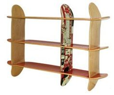 skateboards to shelf