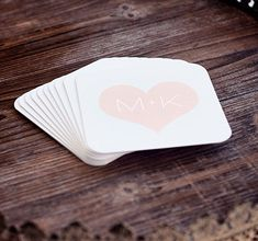 Wedding Coasters, Bridal Shower Coasters Personalized Heart Coasters in Blush Pink by LilMissi on Etsy, $12.00