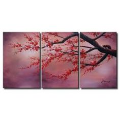 @Overstock - Artist: Unknown  Red Plum Blossom  Product type: Hand-painted gallery wrapped canvas art sethttp://www.overstock.com/Home-Garden/Red-Plum-Blossom-3-piece-Gallery-wrapped-Canvas-Art-Set/5999685/product.html?CID=214117 $96.99