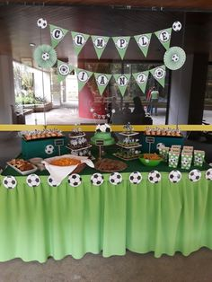 Soccer party theme Soccer Birthday Parties, Sports Birthday, Soccer Party, Birthday Party Themes, 2nd Birthday, Soccer Ball, Football Birthday Cake, Football Themes, Kids Soccer