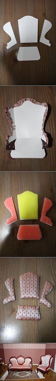 Stuhl - Wie Puppenhaus zu machen, Puppenmöbel, Puppen und Miniaturansicht der Puppe.