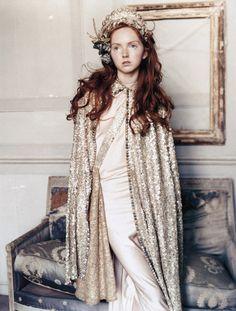 red hair, gold sequins, head dress.