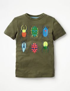 You never can tell where the next adventure will lead, best to be prepared for any eventuality. With these 100% cotton printed tees, Minis can be a rock star today, then an entomologist (that's a big word for Bug Expert) tomorrow.