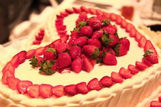 Pretty strawberry decoration for heart shaped cake