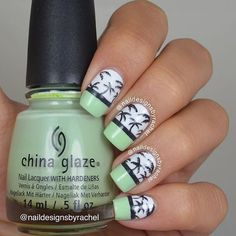 "chinaglazeofficial on Instagram: ""@naildesignsbyrachel takes tropical inspiration from @nailitmag and creates a palm tree mani using China Glaze 'Re-Fresh Mint', 'Out Like A Light' and 'White On White'!"""